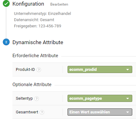 Dynamische Attribute in Google Analytics
