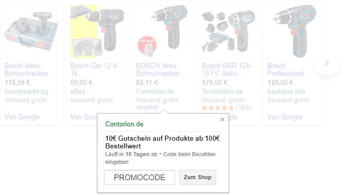 Promotions in Google-Shopping-Anzeigen